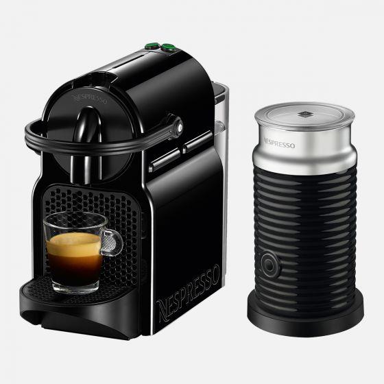 Inissia Black Nespresso Capsule Machine with Aeroccino by Delonghi