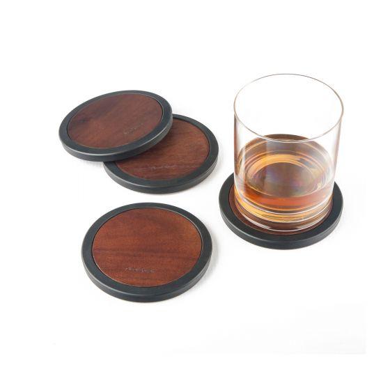 Ensemble de 4 sous-verres ronds en bois d'acacia par Final Touch