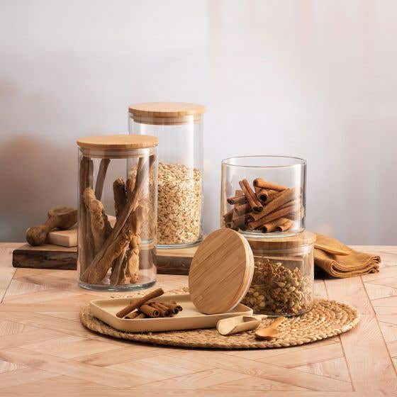 Glass Canister with Bamboo Lid