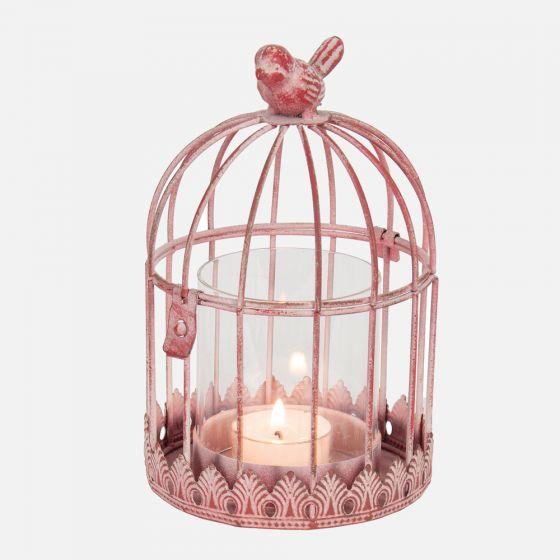 Photophore cage à oiseaux rose