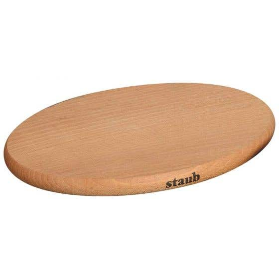 "Staub Oval Wooden Trivet 11.5"""