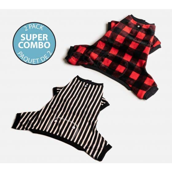 Dog's Pack of 2 Pyjamas - Stripes and Red Plaid Prints