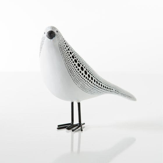 Debossed Dotted Standing Bird-White