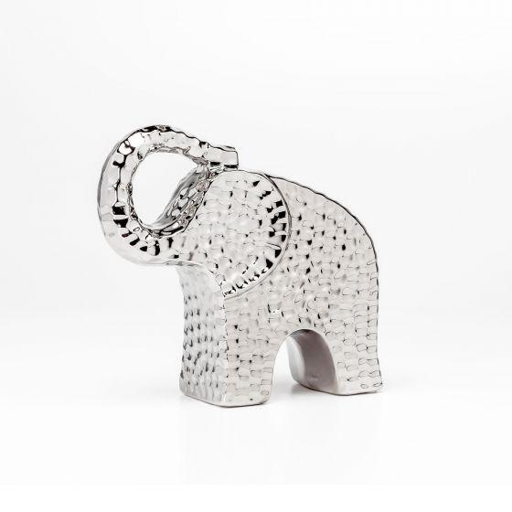 """Bold Hammered Ceramic Elephant 8"""""""