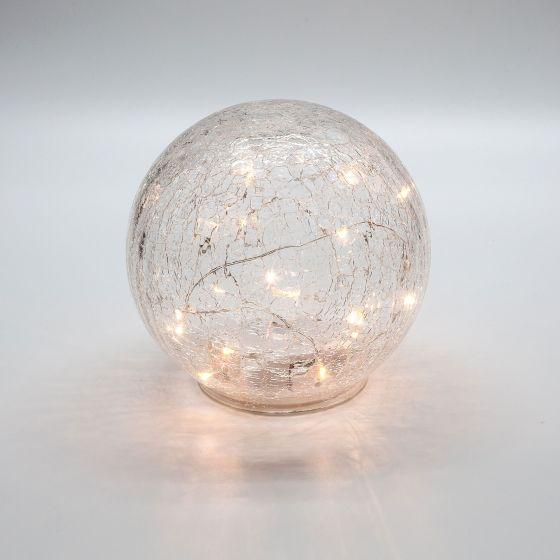 Led Sphere Crackle Glass Light