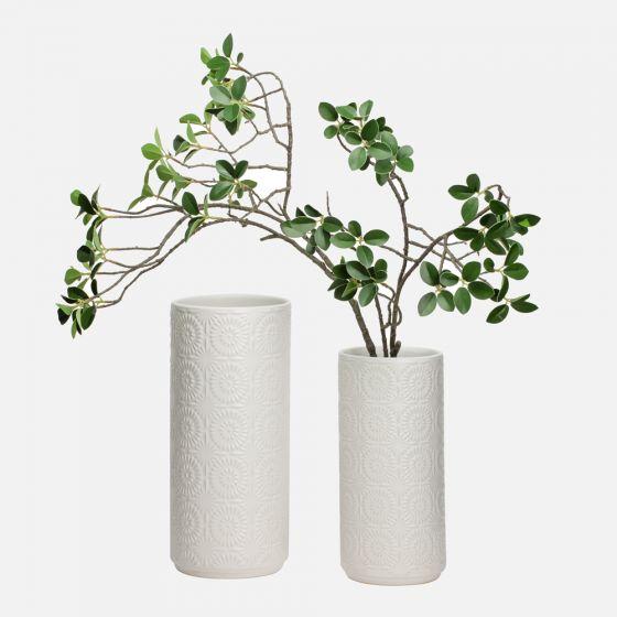 Clara White Embossed Vase
