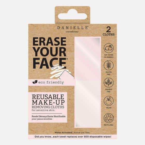 Set of 2 Erase Your Face Reusable Make-Up Removing Cloths