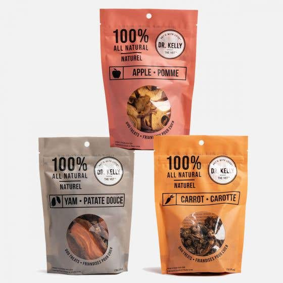 Pack of 3 Vegetarian Treats - Carrot, Apple and Yam