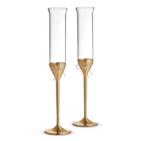 Love Knots Gold Toasting Flutes by Vera Wang