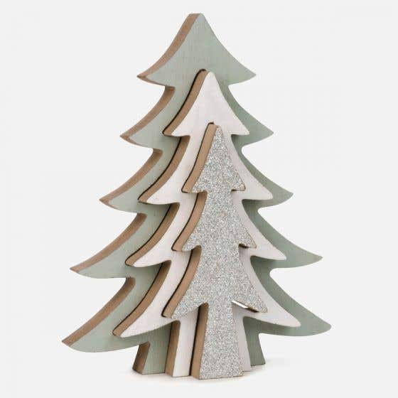 3D Decor Tree with Silver Glitter
