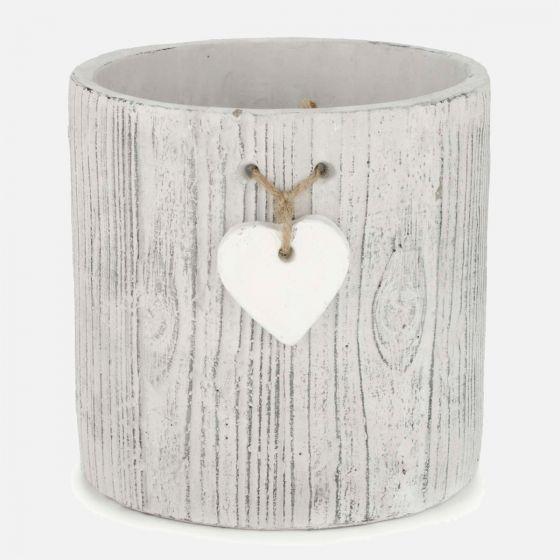 Cache-pot blanc avec coeur