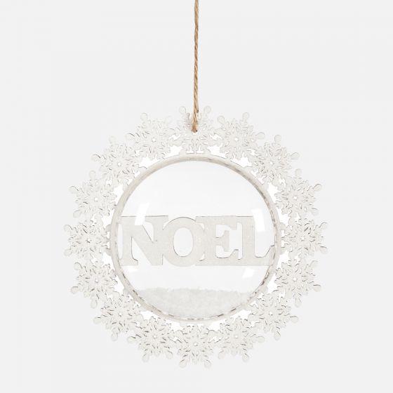 """Noel"" Wreath Glass Ornament"