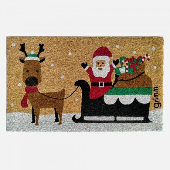 Santa with Reindeer and Sled Doormat