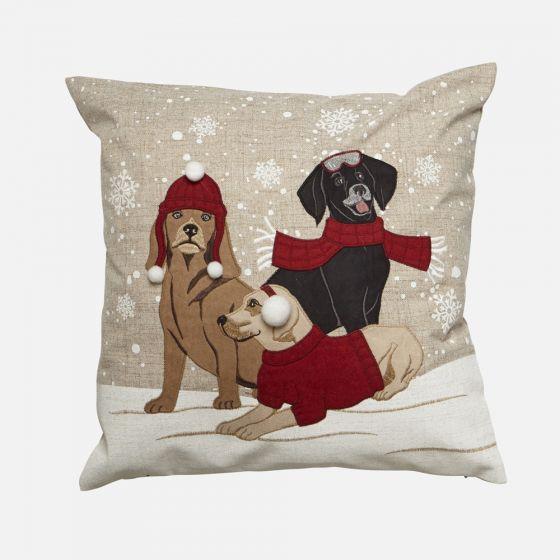 Coussin chiens sous la neige