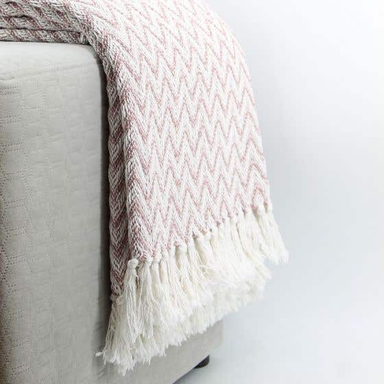 Zigzag Throw with Fringe