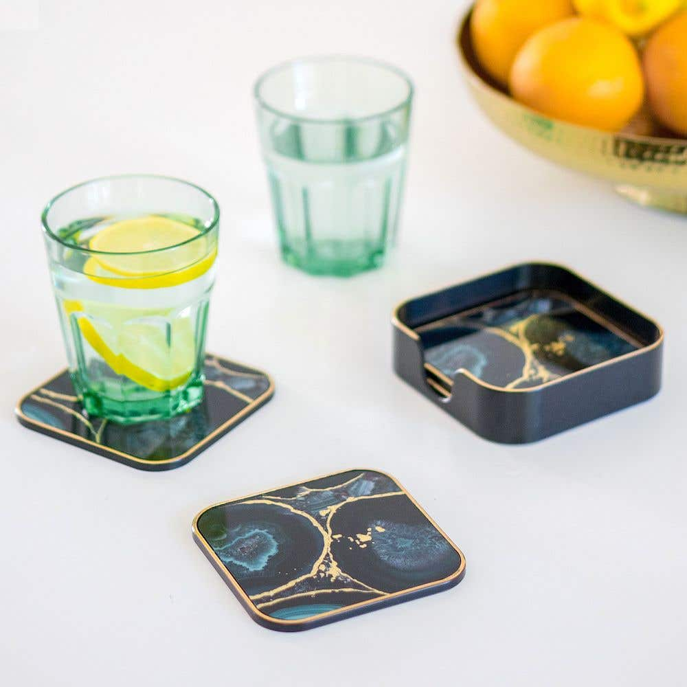 Set Of 4 Agate Coasters Linen Chest