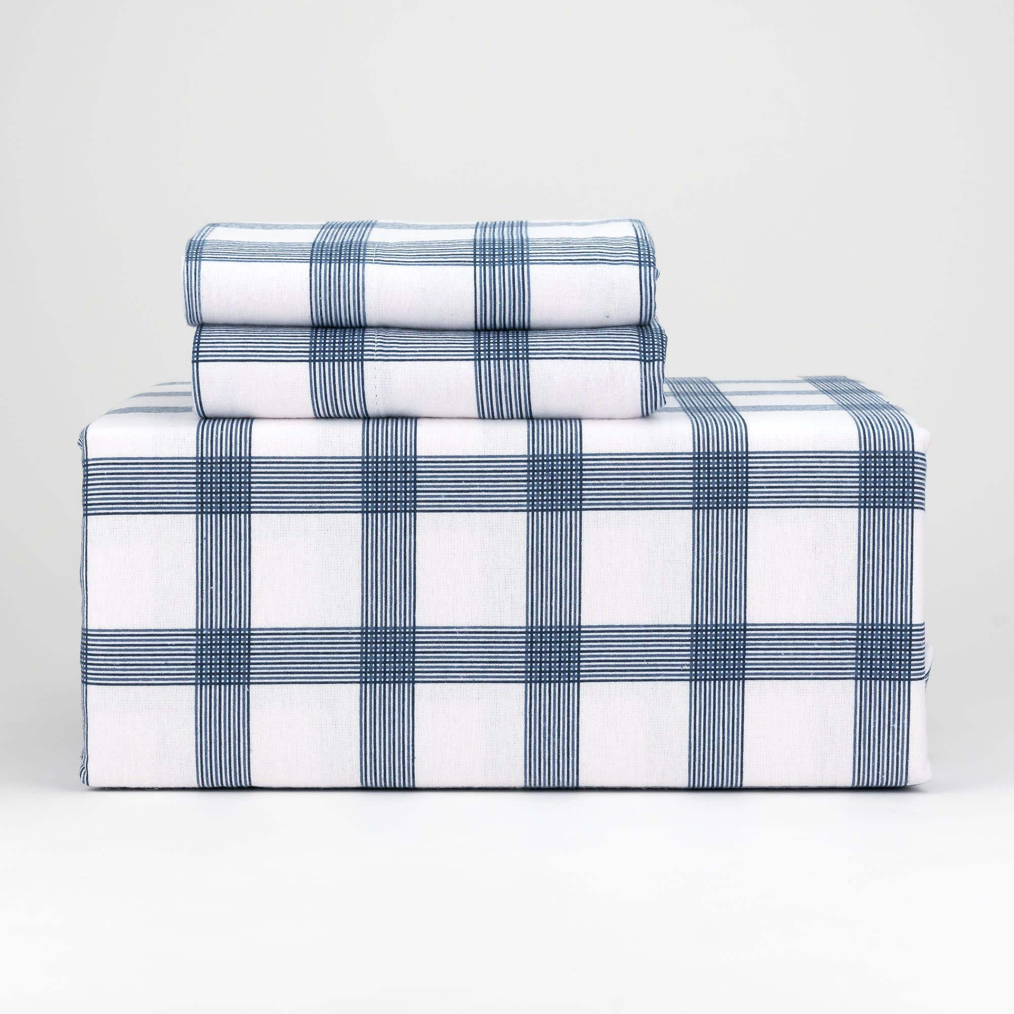 Nautical Stripe Flannel Sheet Set Linen Chest