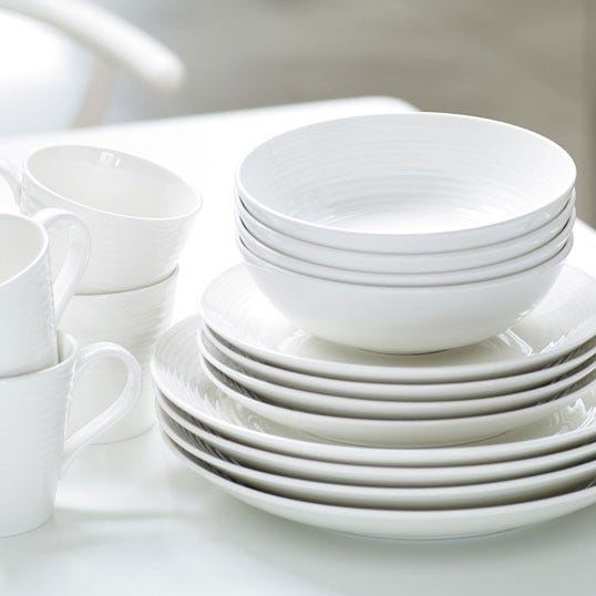 & Products in Dinnerware Tabletop on Linen Chest