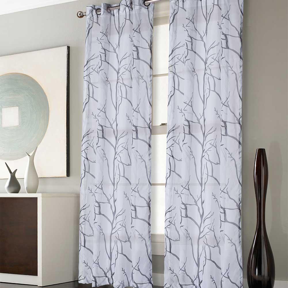 voilage blanc et argent rideau manhattan argent with. Black Bedroom Furniture Sets. Home Design Ideas